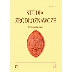 Studia Żródłoznawcze. Commentationes, t. LVII (2019), red. Maria Koczerska